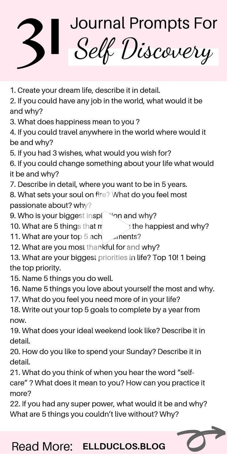 31 Self Discovery Journal Prompts A Self Discovery