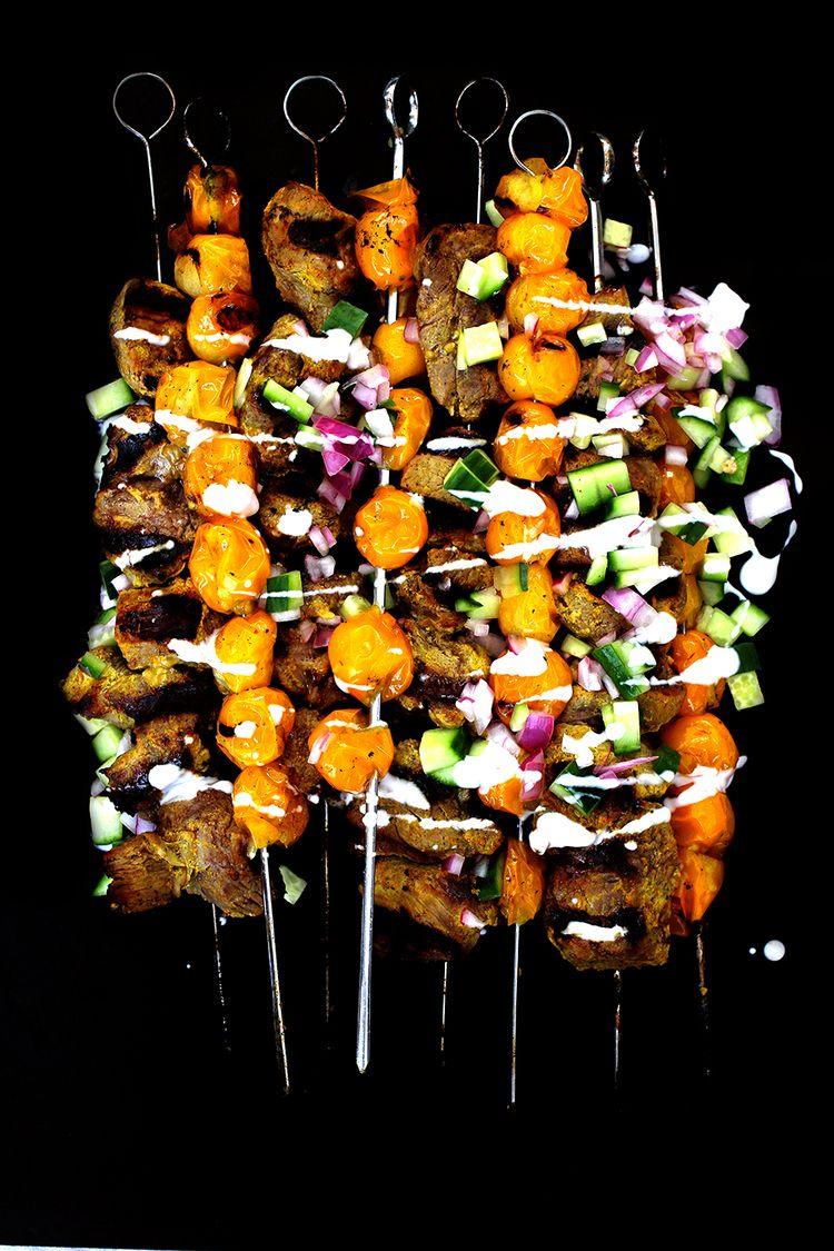 Golden Yogurt-Crusted Lamb and Tomato Kebabs