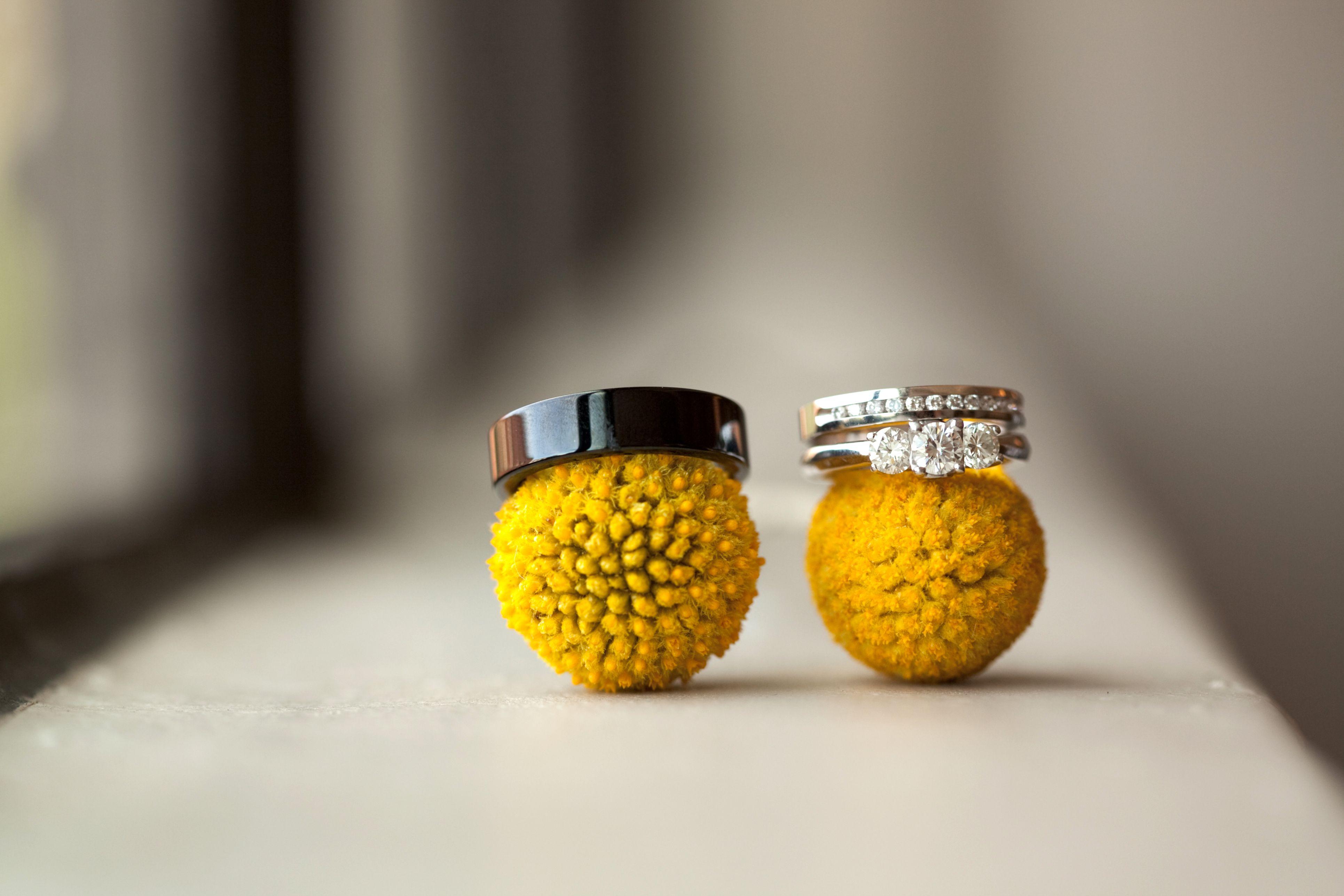 Color spotlight yellow and grey billy balls wedding