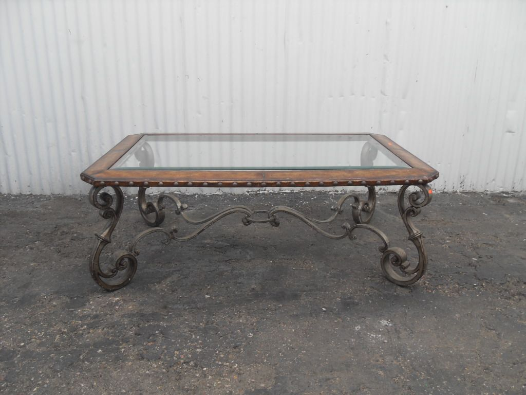 Elegant Wrought Iron Base Coffee Table With Glass Insert Top Has