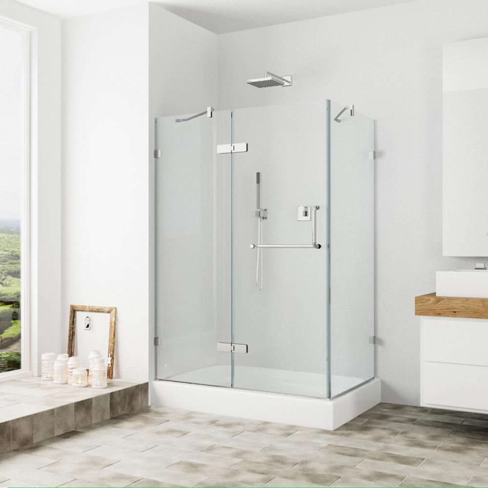 Vigo 32 Inch X 40 Frameless Shower Stall In Clear With Brushed Nickel