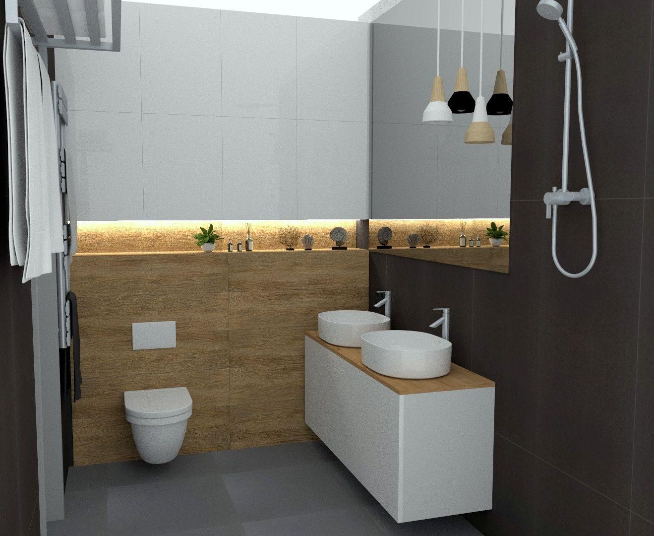 Główna łazienka Biel Drewno I Szarość Metamorfoza