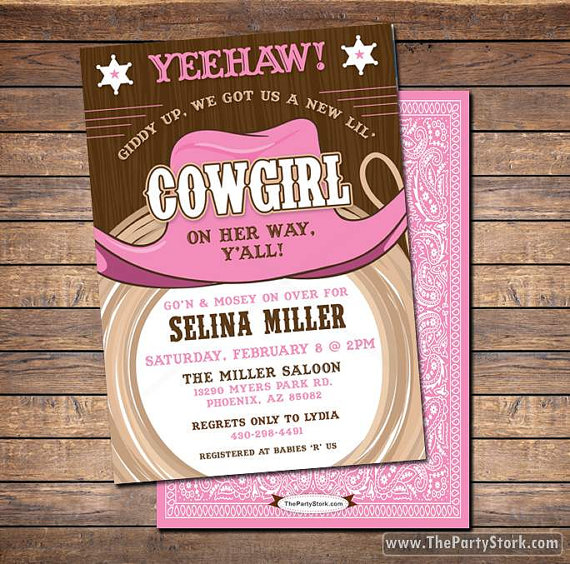 Cowgirl Baby Shower Invitations printable shower or birthday – Western Themed Party Invitations