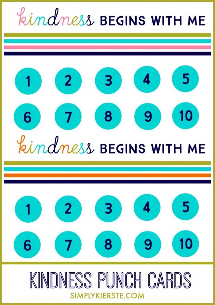 Kindness Punch Card Printables Behavior punch cards, Chores for