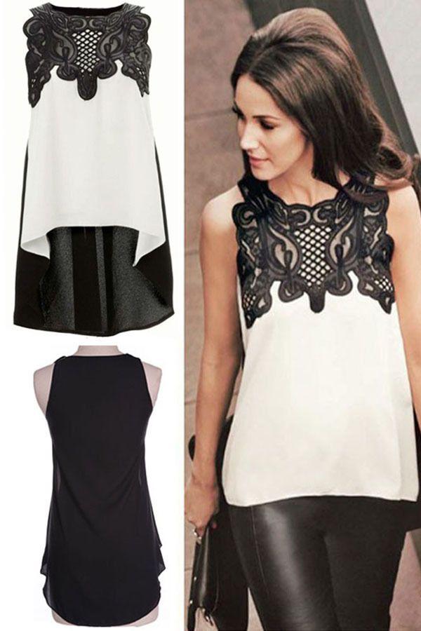 Blusa blanca y negra asimetrica