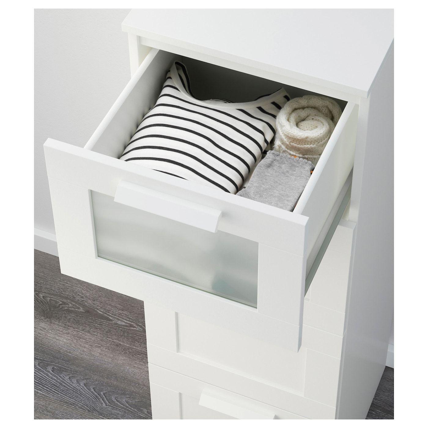 BRIMNES Kommode mit 4 Schubladen weiß, Frostglas IKEA