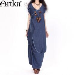 """Длинное платье в стиле бохо тёмно-синего цвета с коротким рукавом """"тюльпан"""" и с запахом"""