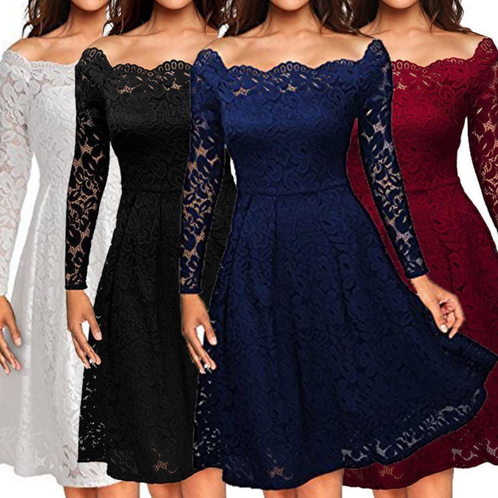 Women vintage off shoulder lace formal evening party dress long