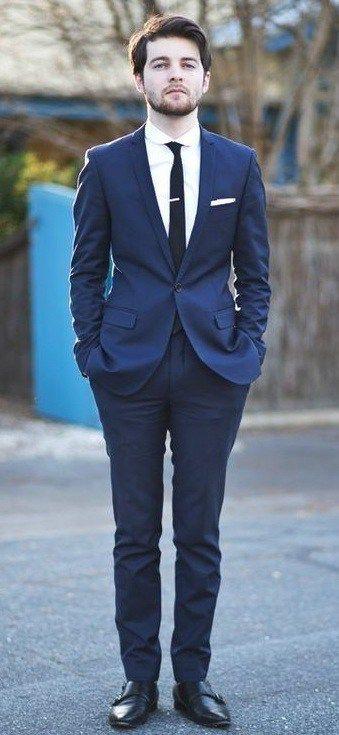 Blue suit black shoes