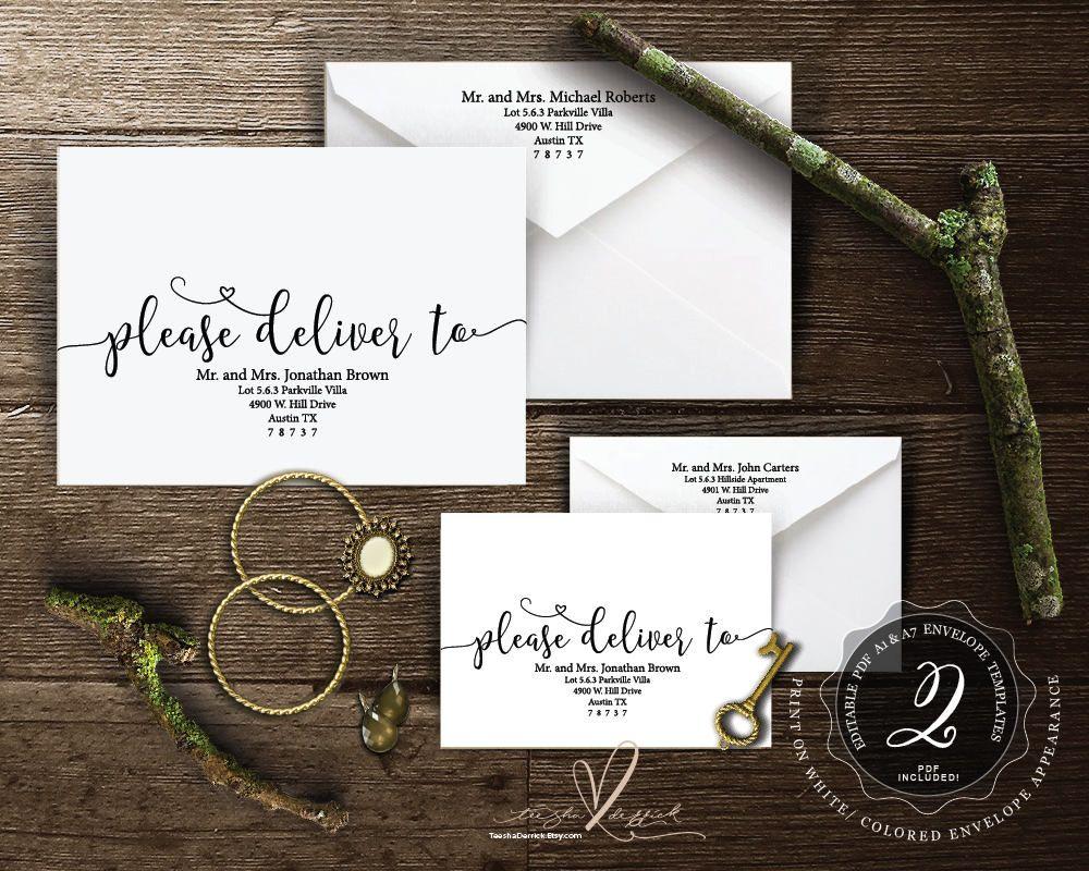 Editable Envelope Template Please Deliver To Instant Download Pdf Kraft Rustic Calligr Wedding Invitation Sets Rustic Wedding Invitation Card Invitation Set
