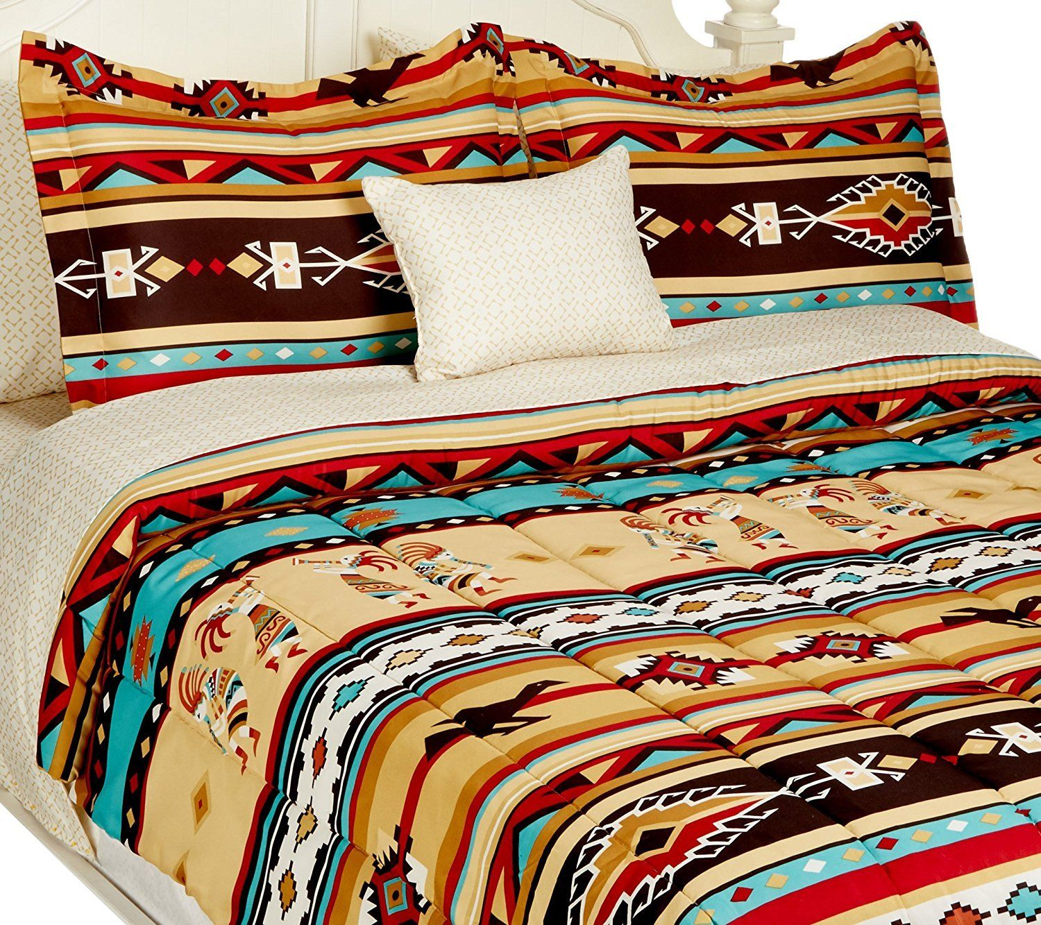 Southwest Turquoise Tan Red Native American Full Comforter