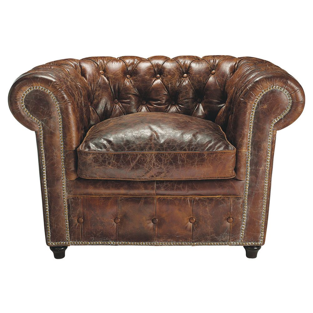 Chesterfield Sessel Gepolsterter Sessel Aus Braunem Leder Sessel Pinterest