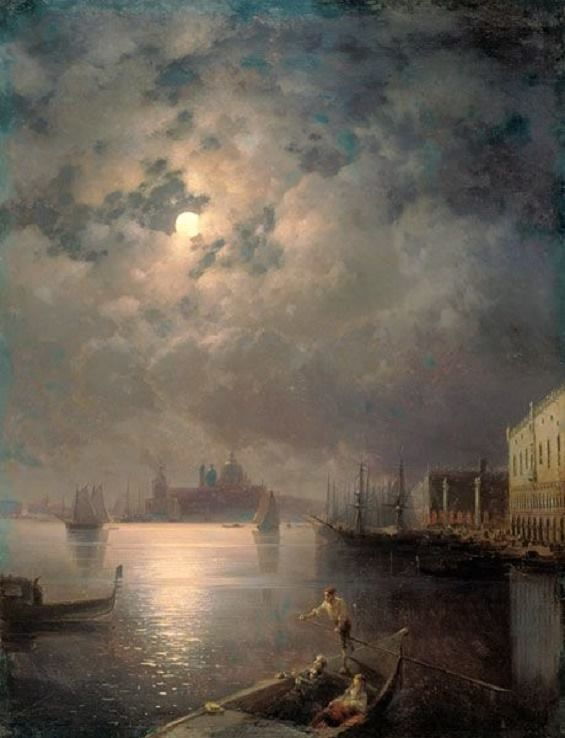 Gondola ride in the moonlight in Venice by Ivan Constantinovich Aivazovsky (1817-1900)