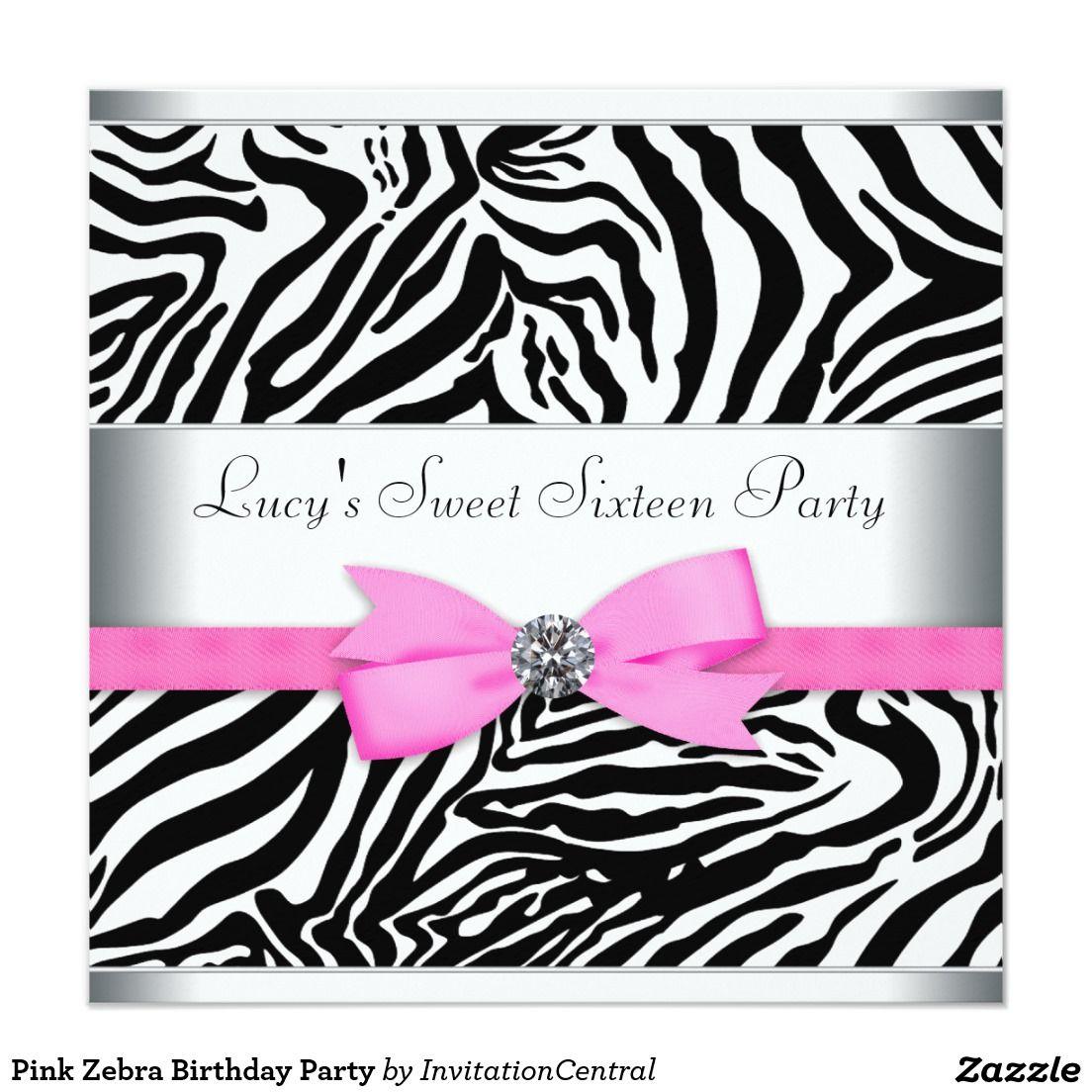 Pink Zebra Birthday Party Card