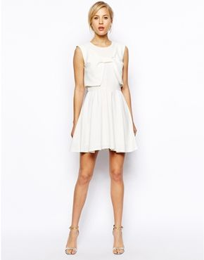 Image 4 of ASOS Skater Dress With Bow Front
