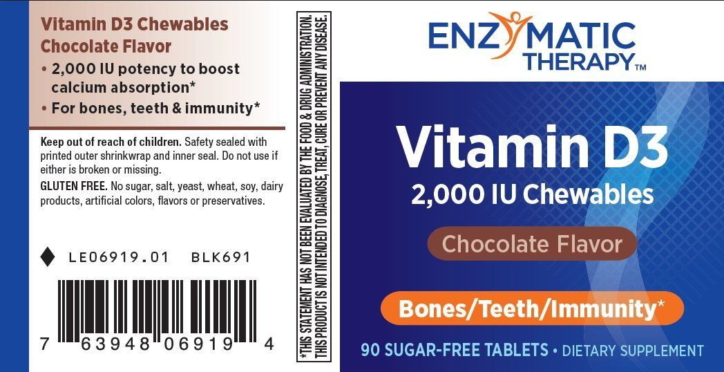 Enzymatic therapy vitamin d3 2000 iu chewable chocolate 90