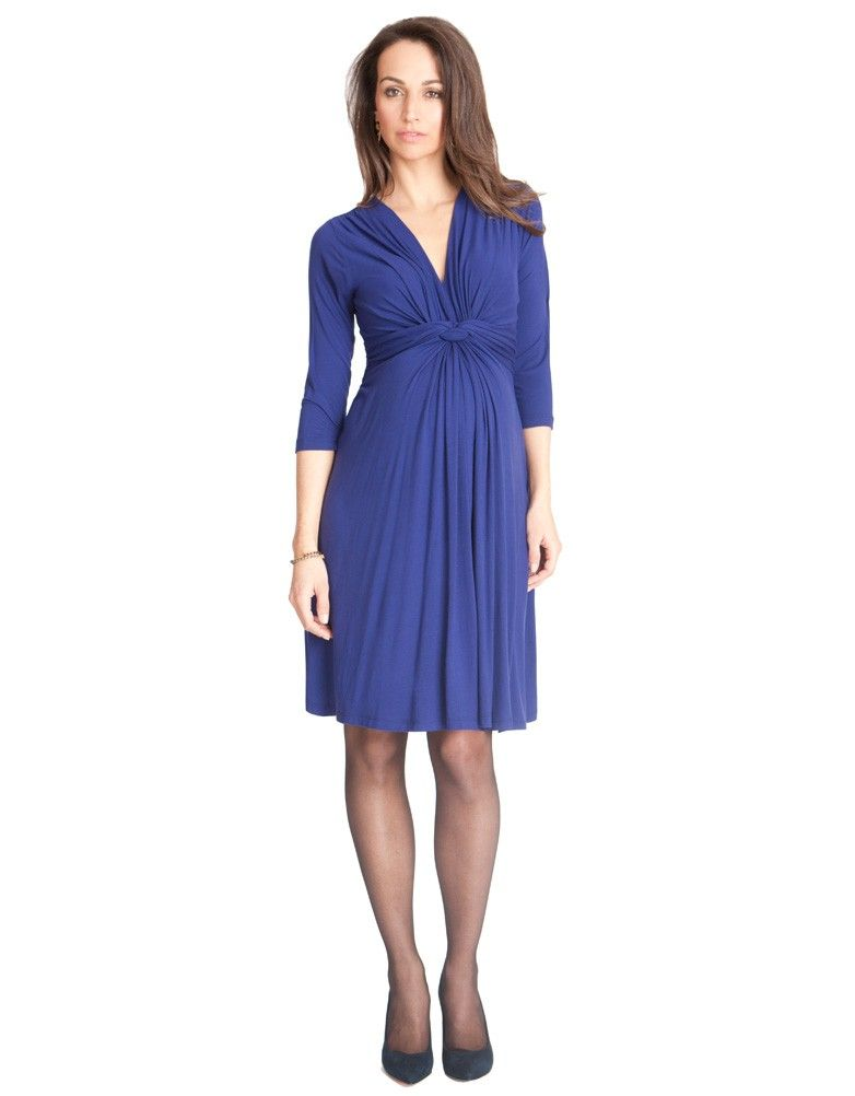 Royal Blue Knot Front 3/4 Sleeve Maternity Dress | Seraphine in ...
