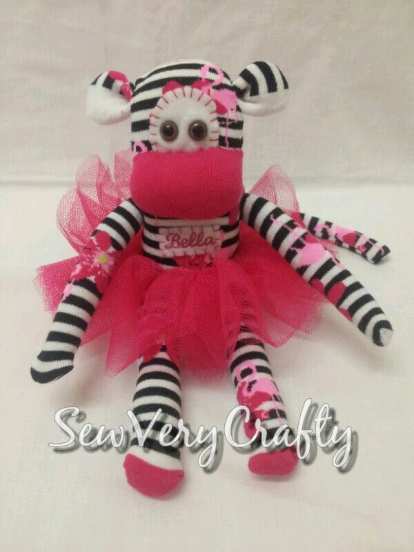 Personalised Sock Monkey with Tutu | Sock Monkeys | Pinterest