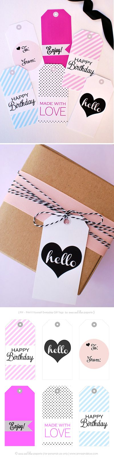 Free printable Everyday gift tags by Anna and Blue Paperie