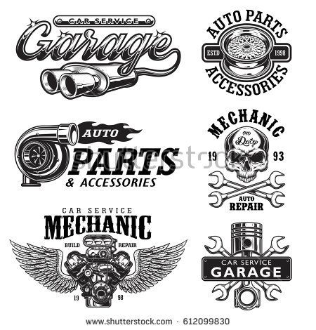 Set Of Vintage Monochrome Auto Repair Service Templates Emblems Labels Badges And Logos Isolated On White Background