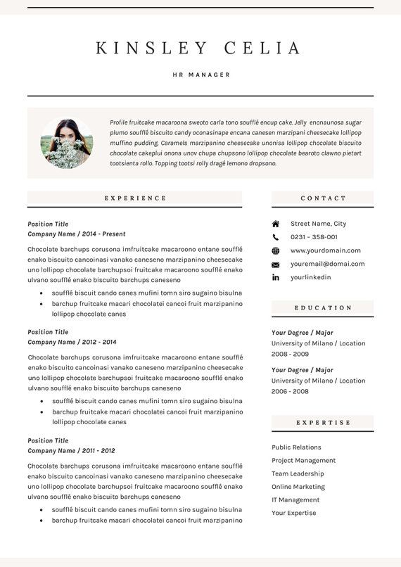 Kinsley Celia  Professional CvResume Template For Microsoft