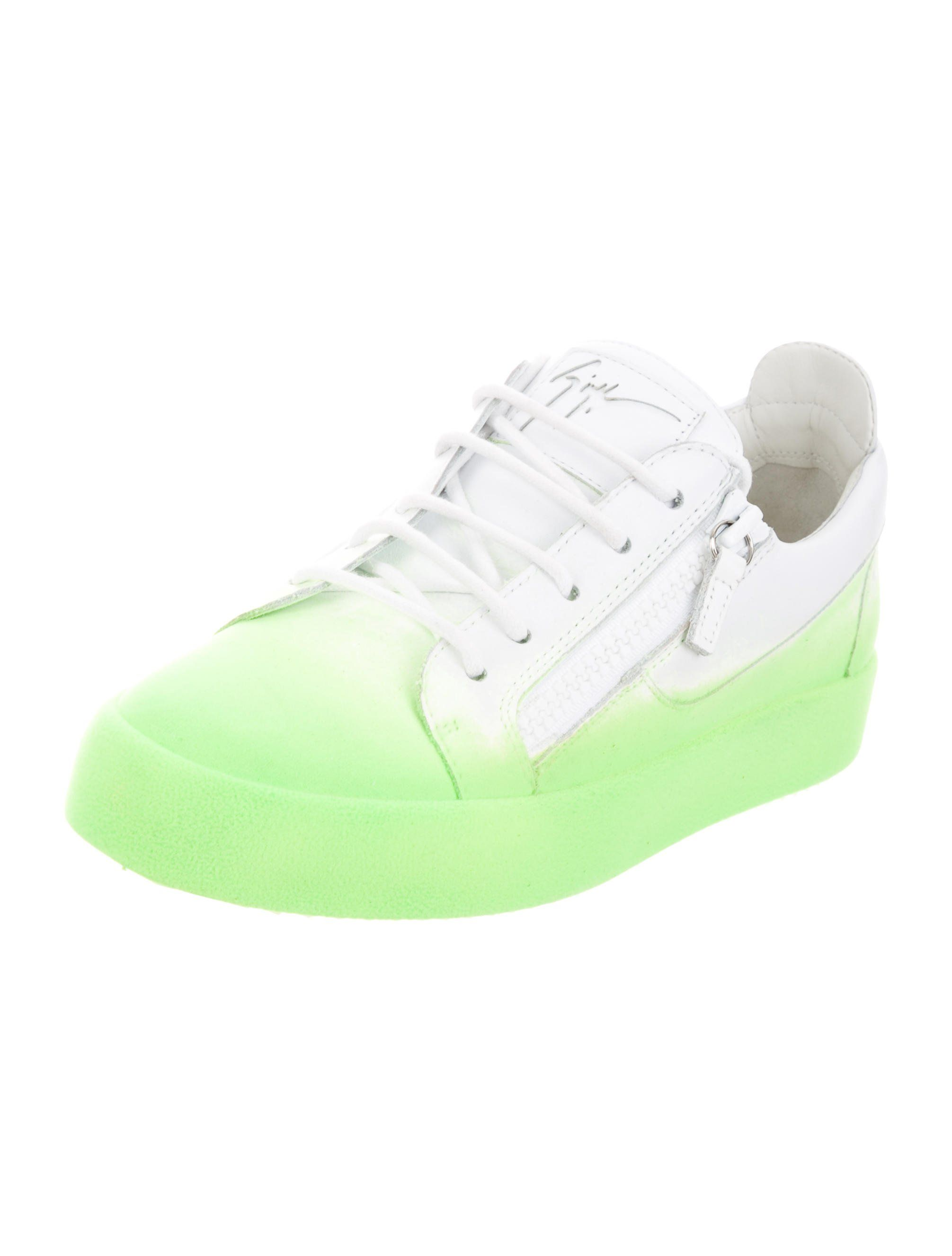7b16b6262ad81 Men's white leather with lime green velvet trim Giuseppe Zanotti low-top  sneakers featuring tonal