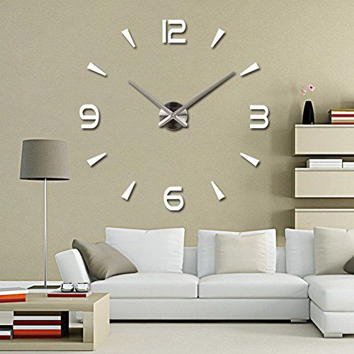 adarl diy large 3d number mirror wall sticker watch home decor art