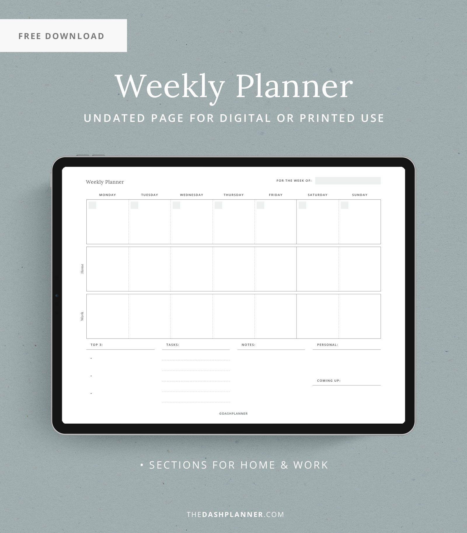 Free Downloads Dash Planner Weekly Planner Free Printable Weekly Planner Free Planner