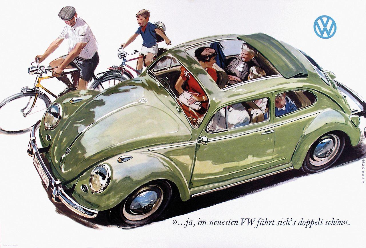 VW beetle advertisement, 1958.  Illustration by Viktor Mundorff.