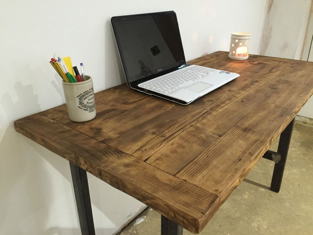 Pc Table Computer Desk Writing Desk Reclaimed Wood Industrial Chic