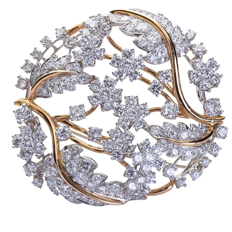 OSCAR HEYMAN Diamond Wreath Brooch Pendant