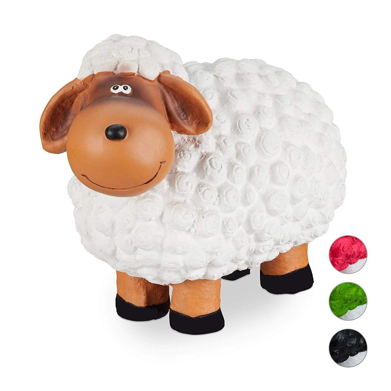Relaxdays Gartenfigur Schaf Tierfigur Frostsicher Wetterfest Handbemalte Gartendeko Innen Aussen Keramik Weiss Werbun Gartenfiguren Tierfiguren Schafe