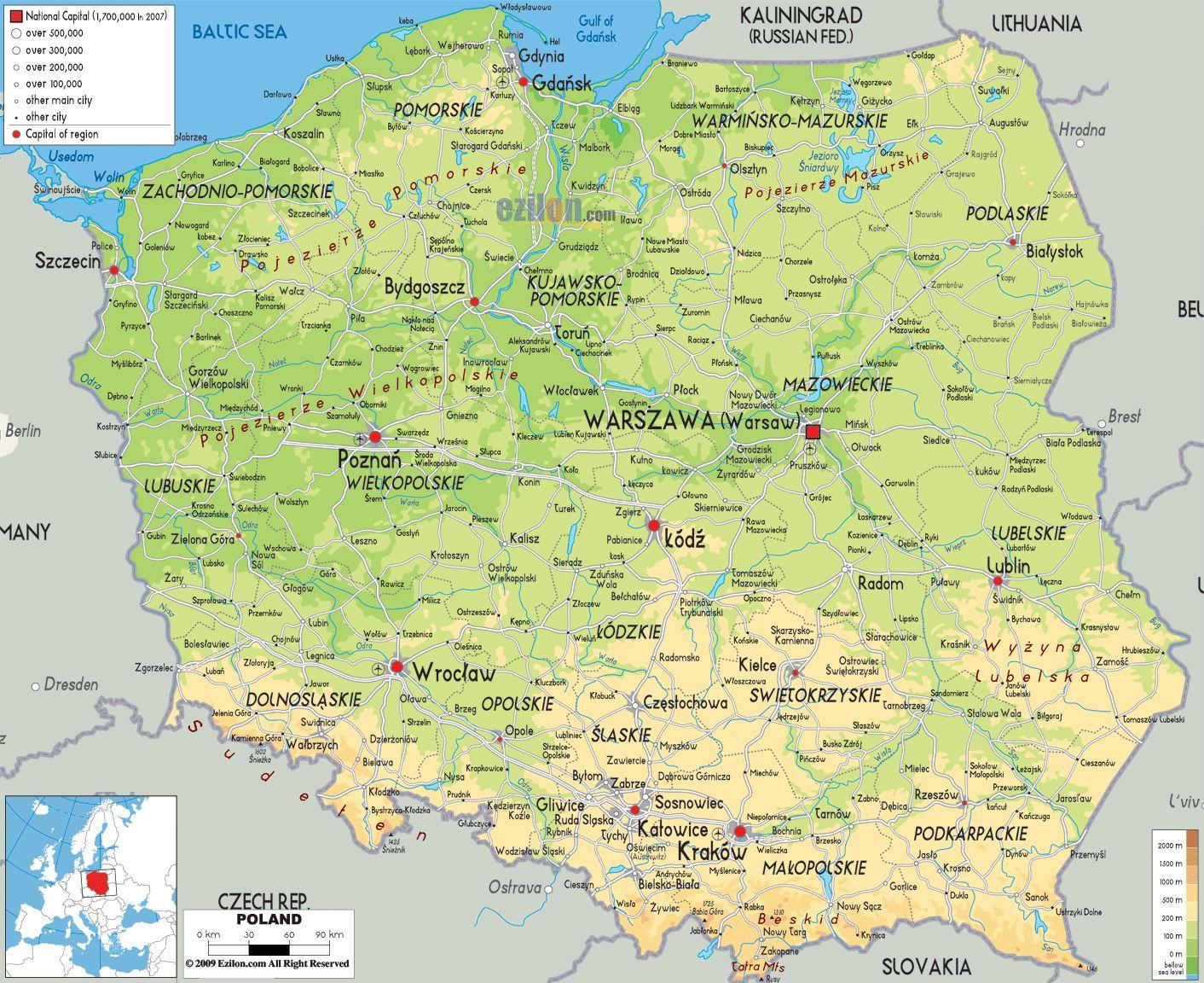 Znalezione Obrazy Dla Zapytania Szczegolowa Mapa Polski Mapa Rzeki