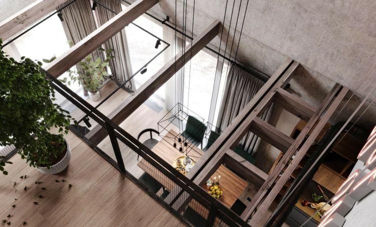 betonwände holzbalken loft essbereich lampe industrial design - dekorative regale inneneinrichtung