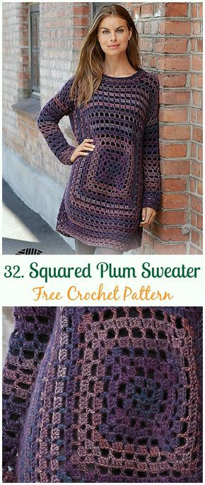 Squared Plum Sweater Pullover Crochet Free Pattern Crochet Women