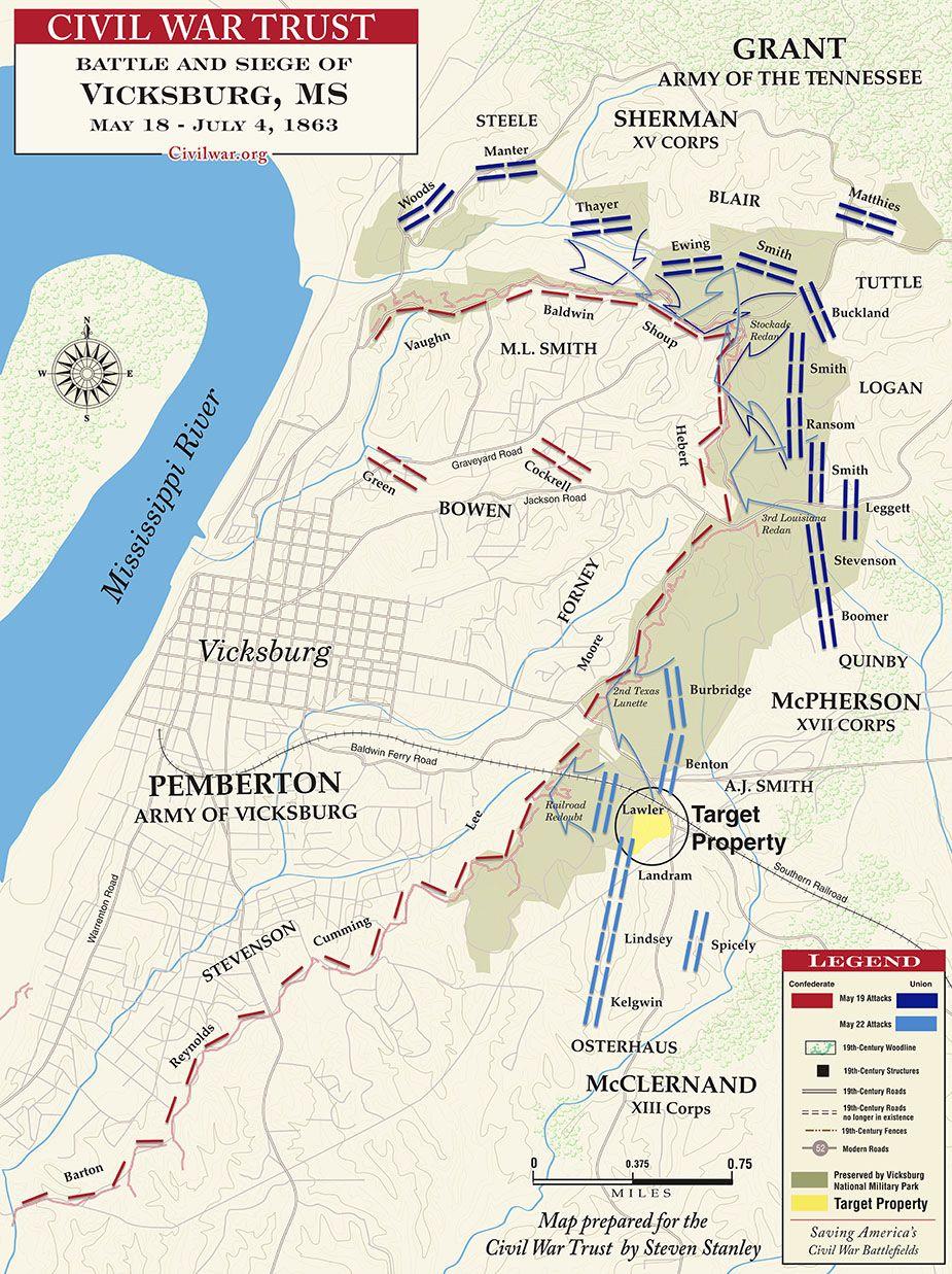 Battle Of Vicksburg On Us Map Battle and Siege of Vicksburg   Civil war battles, Civil war