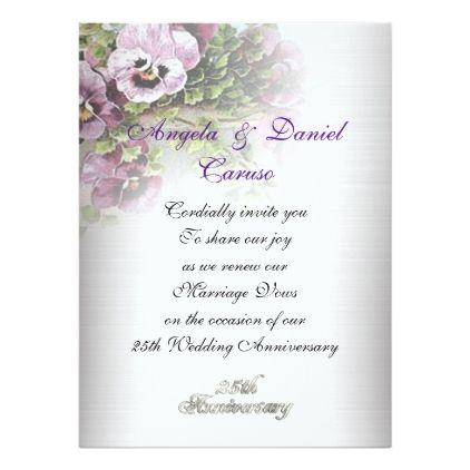 Th Anniversary Invitation Soft Pansies  Wedding Invitations