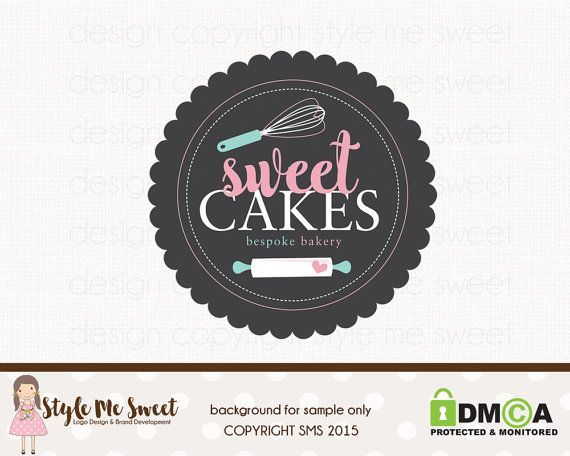 Logo Design Hand Drawn Premade OOAK Sweet Cake Stand with Text ...