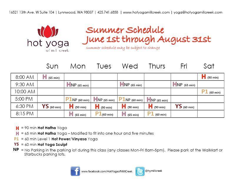 Summer Class Schedule at HYMC