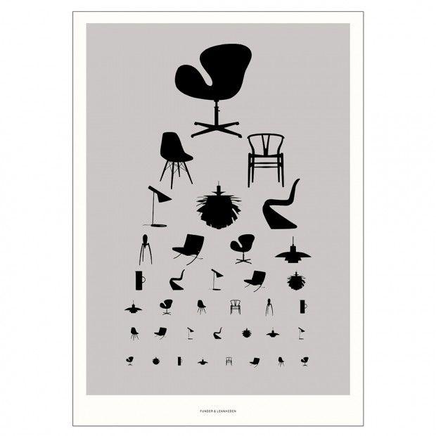 Funder Lennheden Icons Plakat 50x70 Cm Gra Med Billeder Design Plakater Interior