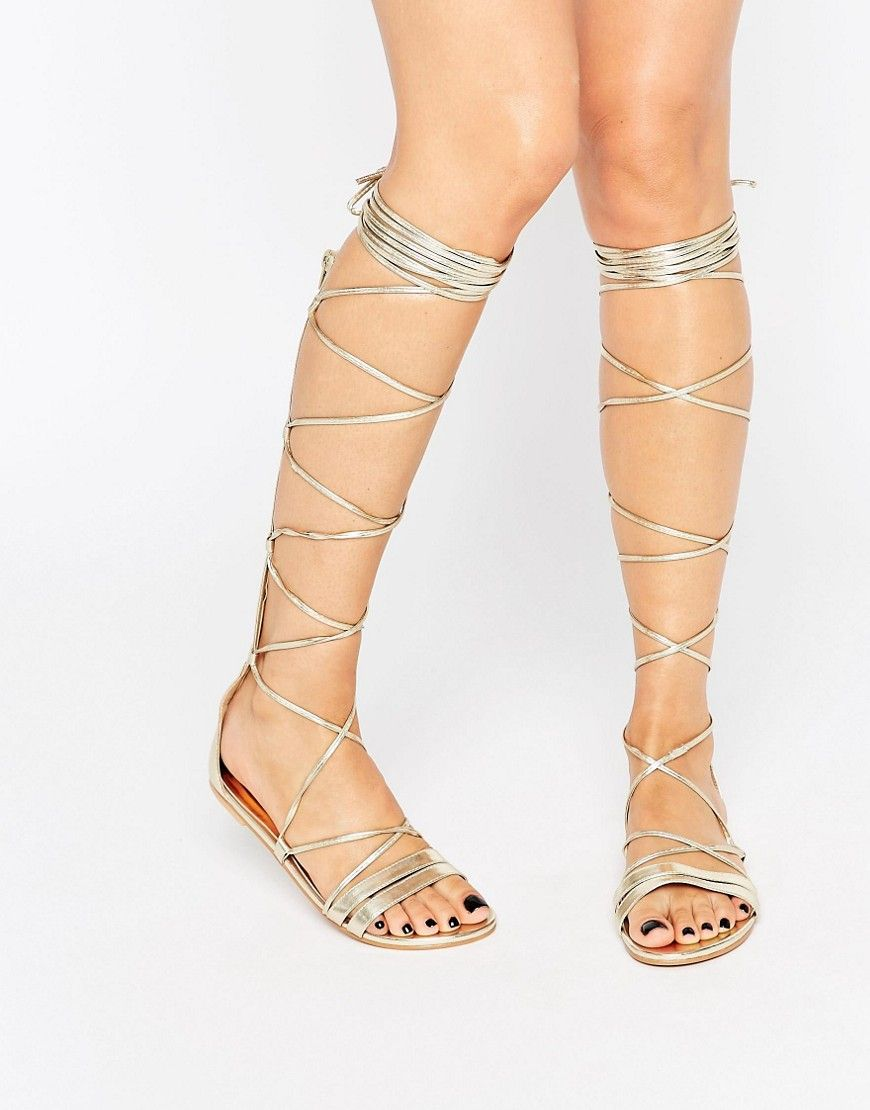 1222ba9189e Daisy Street Lace Up Gladiator Flat Sandals - Gold