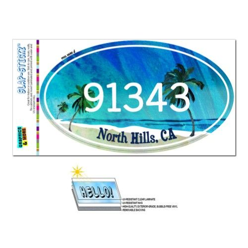 91343 North Hills Ca Tropical Beach Oval Zip Code Sticker Zip