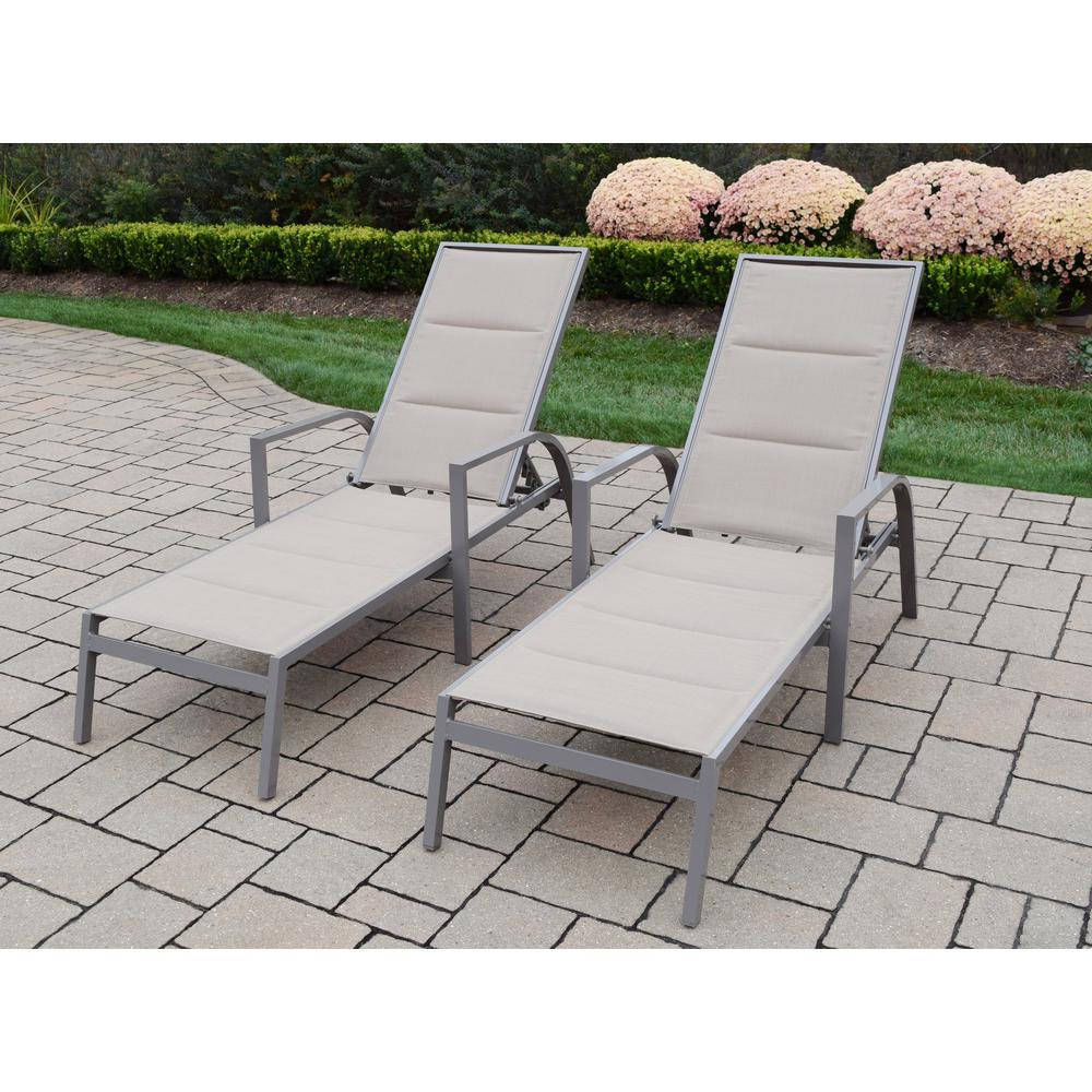 Astounding Oakland Living 2 Piece Padded Sling Aluminum Patio Chaise Machost Co Dining Chair Design Ideas Machostcouk
