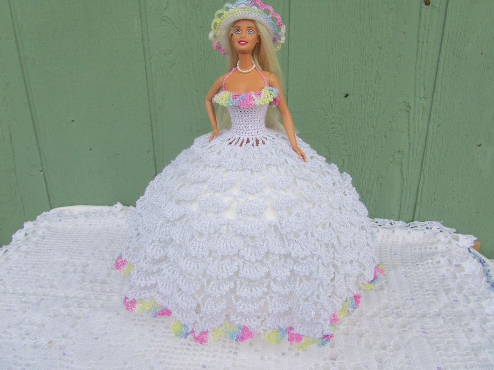 Crochet homemade dress for Barbie doll just in time for Mother's day