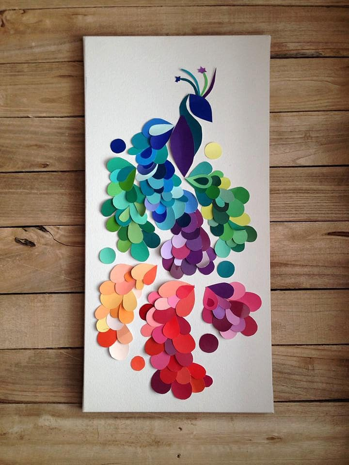 Paint Chip Art Punch A Few Shapes In Chips Pepper Them On Piece Of Paper And Frame It For An Awesome