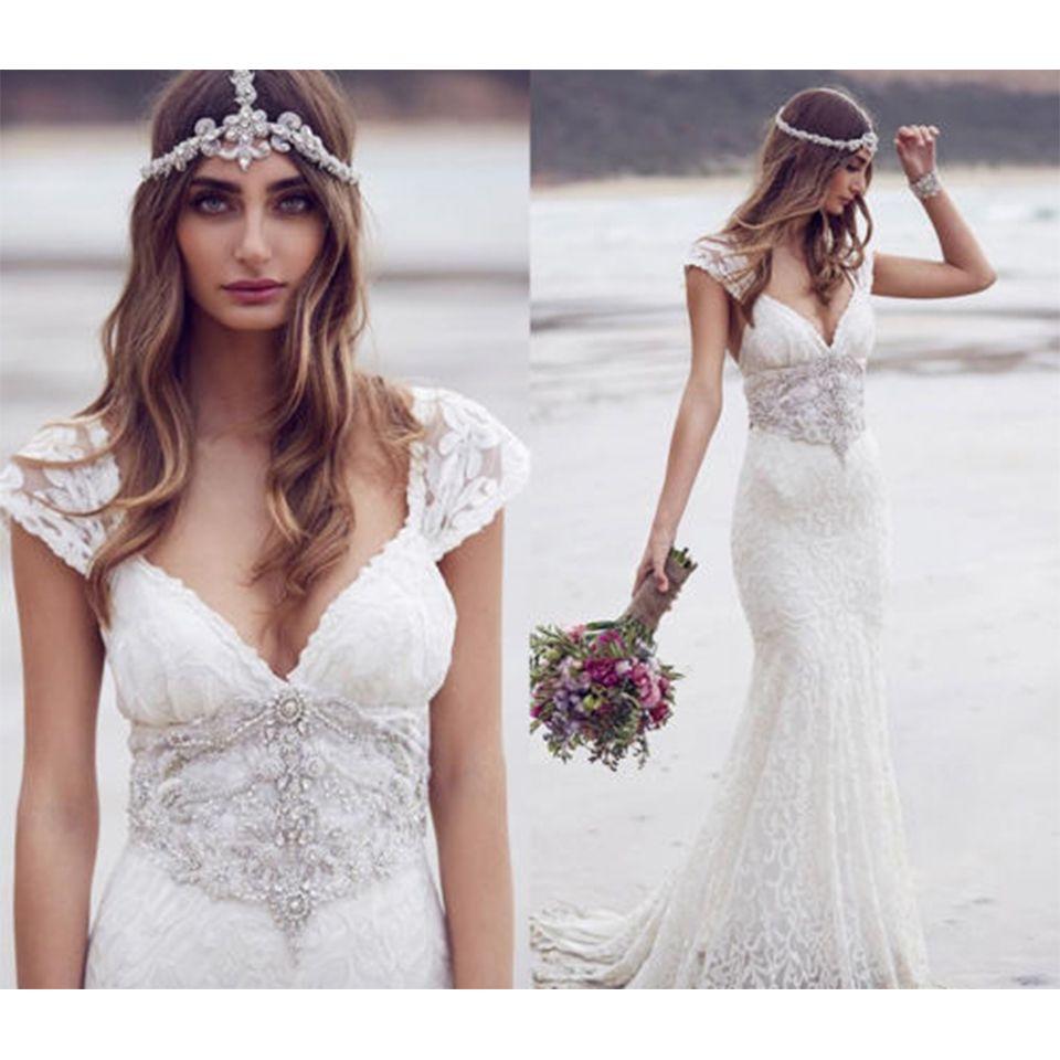 Love The Unique Boho Lace Beach Wedding Dresses 2016