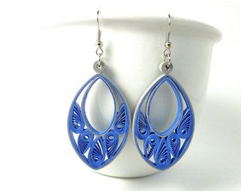 Blue Oval Paper Jewelry / Blue Gray Quilled Earrings / Unique Handmade Statement Jewelry / Fall Fashion / Filigree Earrings