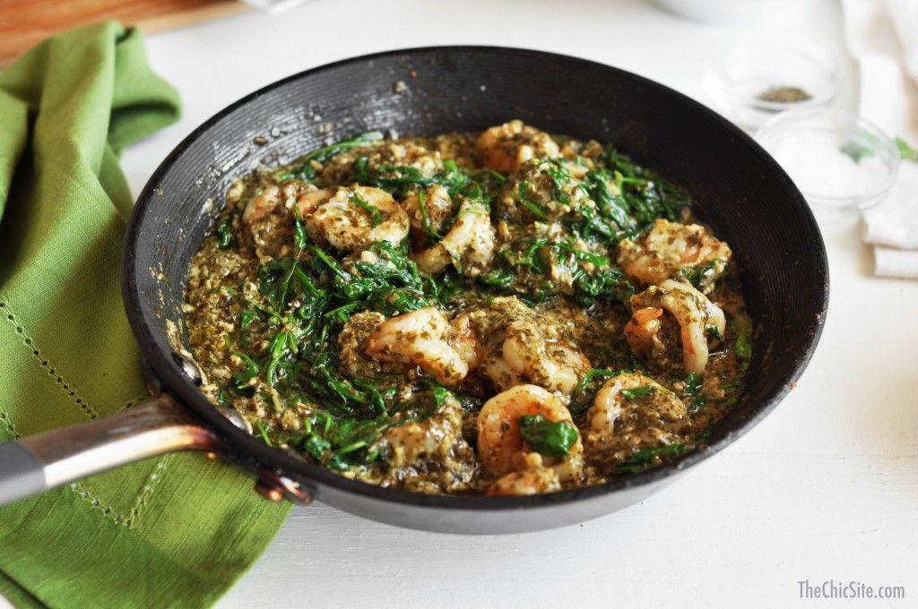 Shrimp Pesto Arugula Pasta $3 Dollar Dinner - This recipe is full of flavor