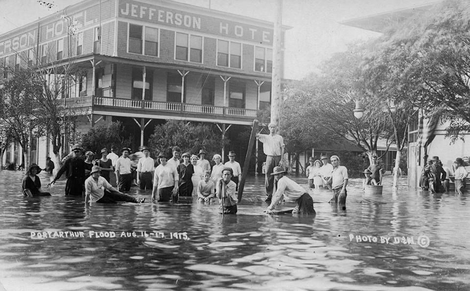 Folks Gathered At The Jefferson Hotel In Port Arthur During Flood After 1915 Hurricane