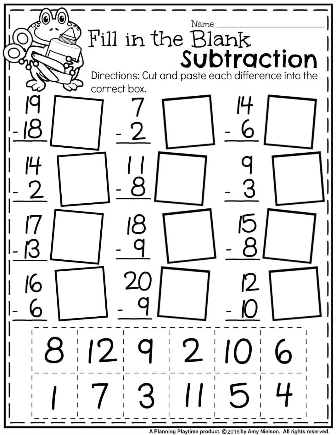1st Grade Math Worksheets Find The Difference Subtraction
